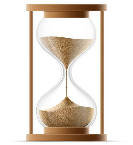 Statute of limitations symbolized by a hourglass.